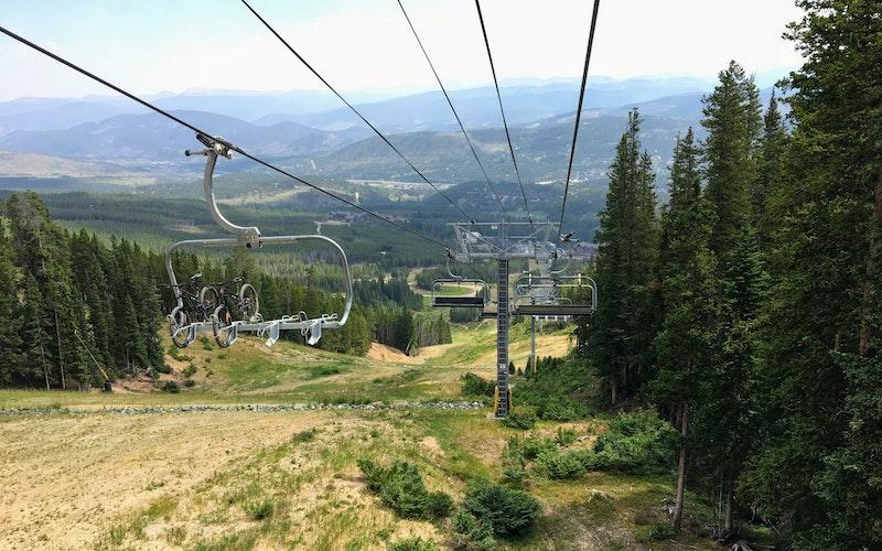 Mountain bikes on a ski lift in Breckenridge in the summer.