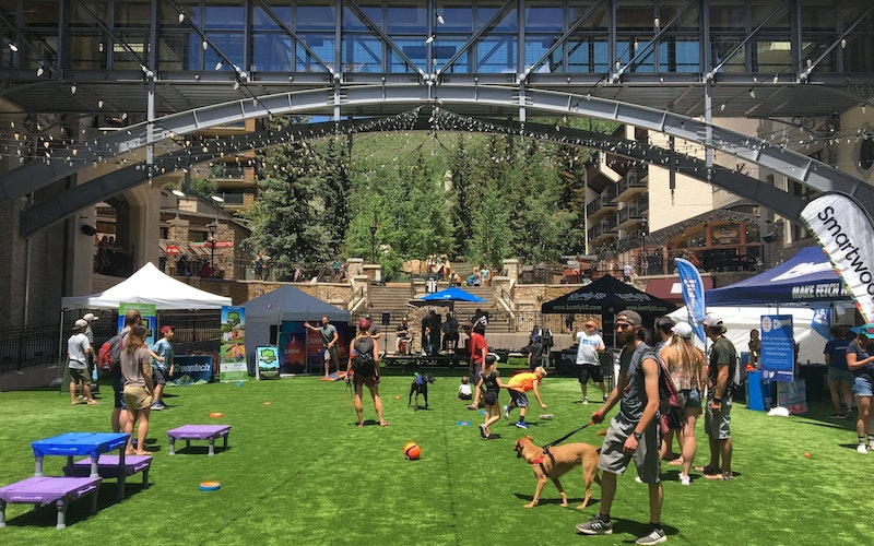 A busy summer day in Vail with people walking their dogs and children playing.